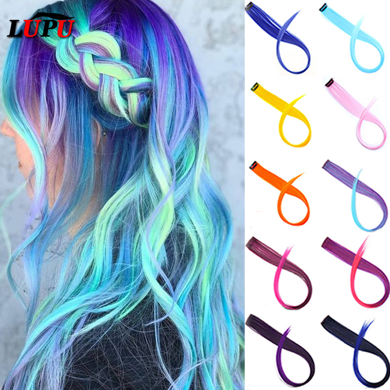 LUPU Synthetic Hair Extension Long Straight 1 Clip In One Piece Colored Strands Of Hairpieces Rainbow Highlight Ombre Gray Pink