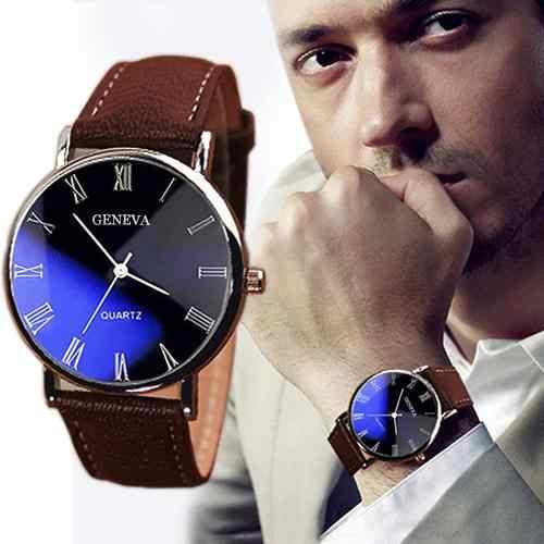 남자 로마 숫자 블루 레이 가짜 가죽 밴드 석영 아날로그 비즈니스 손목 시계