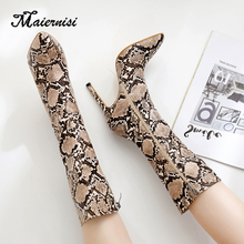 MAIERNISI Women Lace-Up Boots Snake Print Ankle Boots High heels Fashion Pointed toe Ladies Sexy shoes fashion New Chelsea Boots zorssar 2018 new arrival fashion women chelsea boots patent leather pointed toe high heels ankle boots winter women shoes
