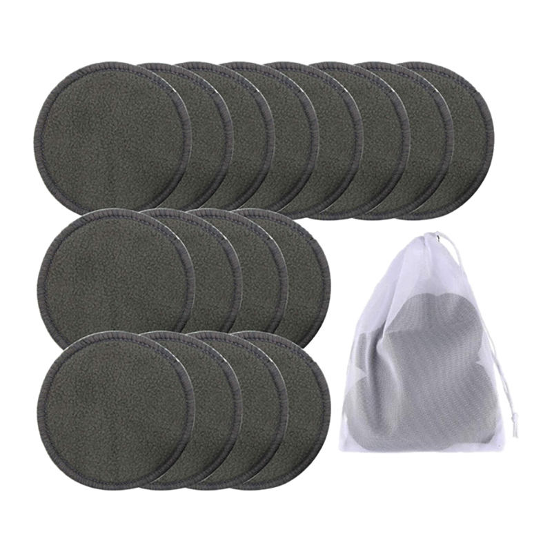 16Pcs Reusable Bamboo Cotton Make Up Remover Pads Washable Triple Layer Facial Skin Care Wipe Pads Cleaning Pad with Bag