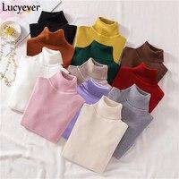 Lucyever зимняя водолазка для женщин трикотажные пуловеры свитер мода осень мягкий джемпер корейский Тонкий длинный рукав для девочек основно...