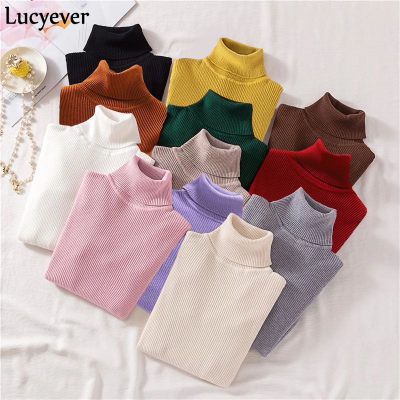 Lucyever Turtleneck Women Knitted Pullovers Sweater Fashion Autumn Winter Soft Jumper Korean Slim Long Sleeve Girls Basic Tops