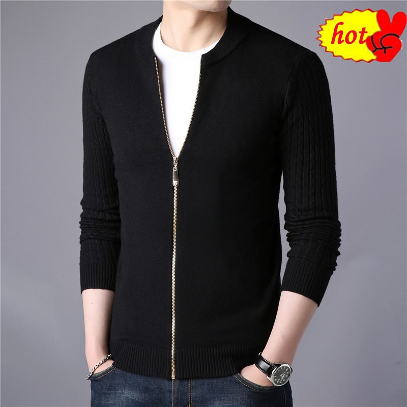 Autumn New Spring Men's Cardigan Sweaters Men Knitted Outwear Thin Male Thin Coats Zipper O-neck Fitness Solid