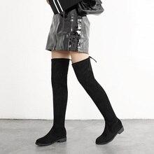Slim Stretch Lycra Knee High Boots Platform Winter Boots Women Long Boots Winter Shoes Women Sock Boots Over the Knee Boots fat over the knee boots long boots children s autumn and winter 18 new flat bottom wild thin high tube lycra elastic women s boots