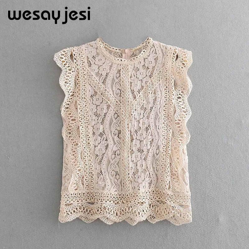 2019 элегантная кружевная женская блузка в английском стиле, Сексуальная Блузка без рукавов с вышивкой, летний Прозрачный Женский Топ