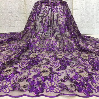 2019 Laces Fabric sfor Dresses Latest Nigerian French Tulle Laces with Sequin High Quality African Sequins Lace Fabrics xc82-656