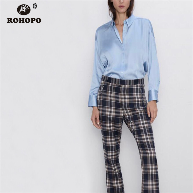 ROHOPO Sky Blue Stain Long Sleeve   Blouse   Autumn Round Edge High Low Length Flared Hem Solid Ladies Top   Shirt   #2238