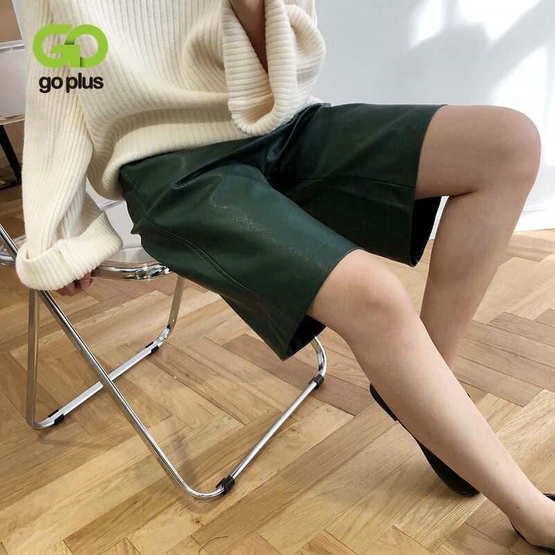 GOPLUS Winter PU Leather Shorts Women's High Waist Loose Solid Shorts Womens Short Feminino Ropa Clothing C8319