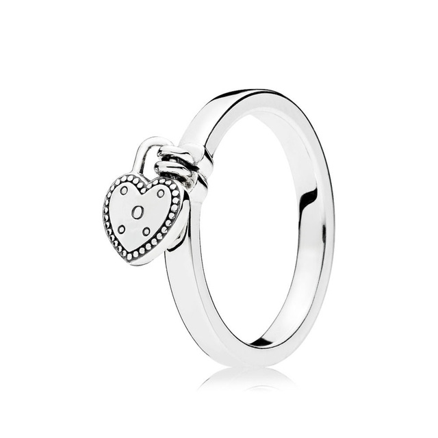 6 Style Women Silver Color Rings Jewelry Logo Signature With Crystal Pan Heart Pendant Ring For Women Jewelry 2
