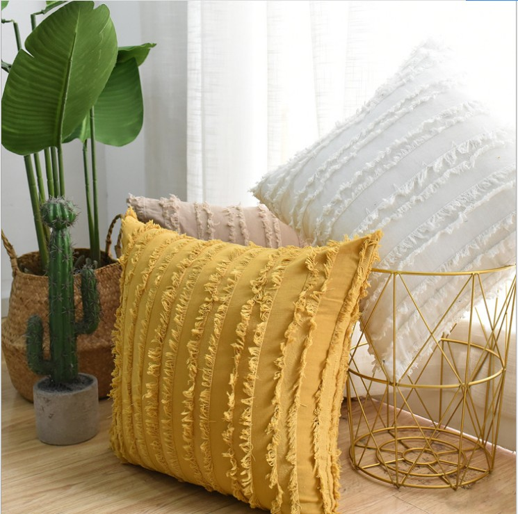 Yellow Beige Navy Grey Linen Cotton Decorative Pillow Case Tassles Floral Cushion Cover Sofa Pillow Cover 30x50cm 45x45cm Buy Cheap In An Online Store With Delivery Price Comparison Specifications Photos And Customer