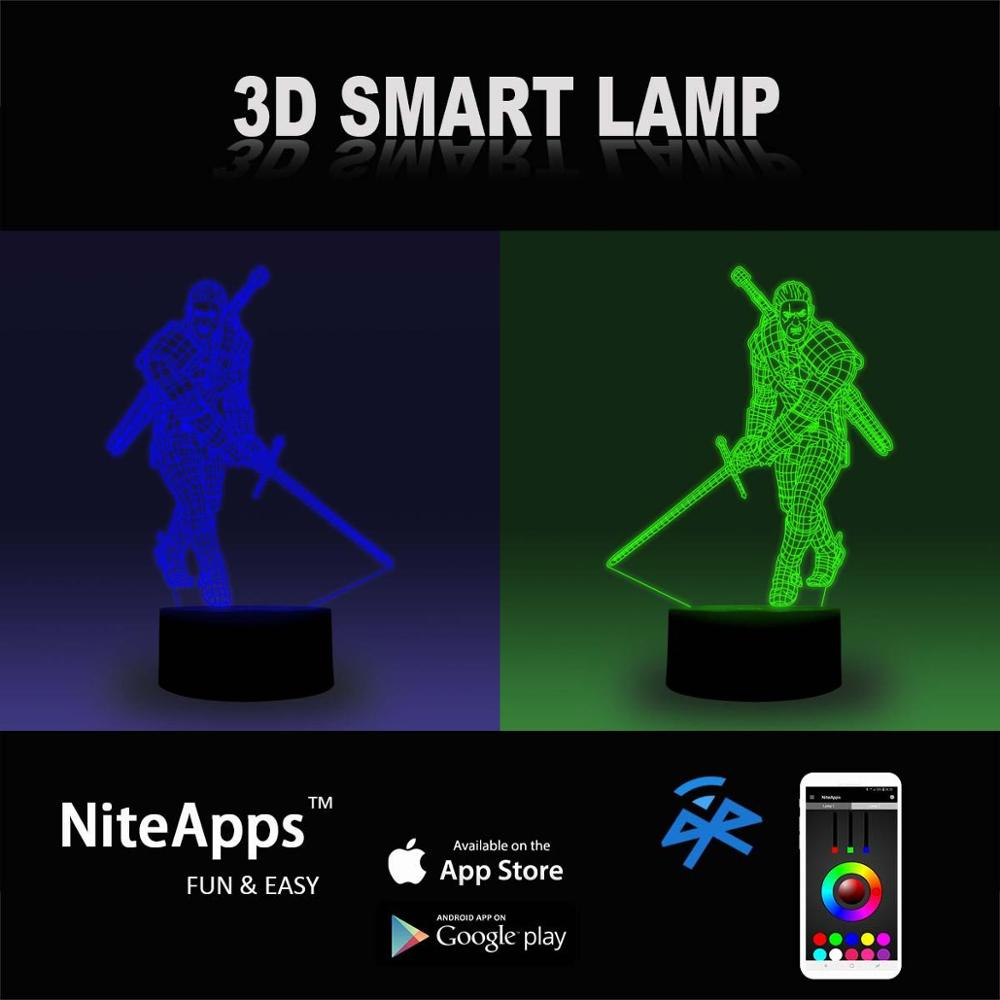 NiteApps 3D Witcher Night Light Desk Table Illusion Decoration Lamp Holiday Birthday Gift APP/Touch Control 1