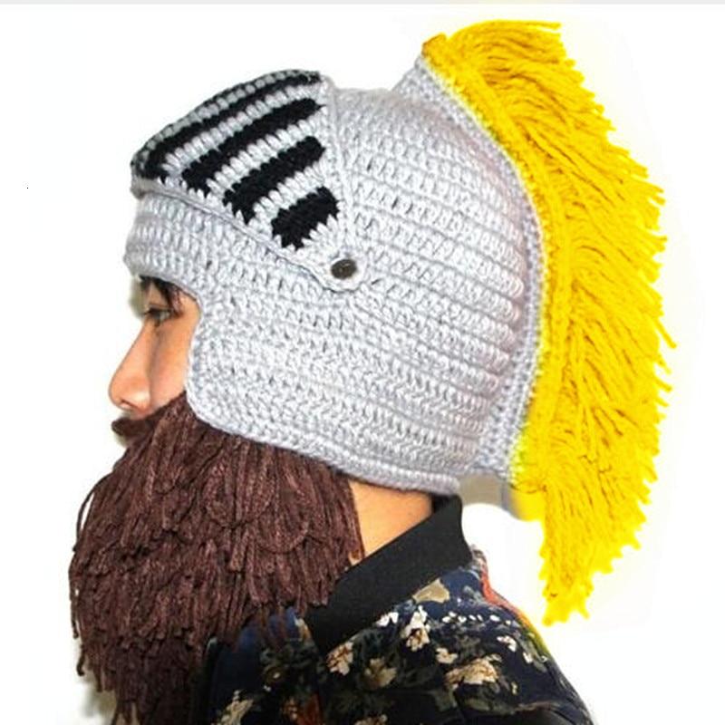 Red Tassel Cosplay Roman Knight Knit Helmet Men's Caps Original Barbarian Handmade Winter Warm Beard Hats Funny Party Beanies