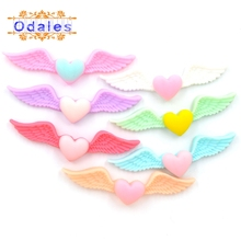 32Pcs/lots 3D Delicate Angel Wing for Wedding Decoration Toy Baby Ornament Heart DIY Crafts Frosted Resin Material Supplies