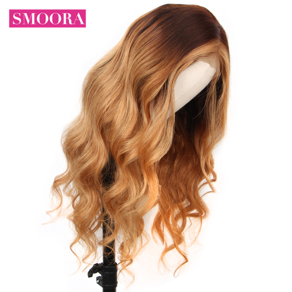 Ombre Lace Front Wigs #4/27 Mix Honey Blonde Brown Body Wave 13x4 Lace Front  Wigs Mongolian Non  Hair 150% Densit 1