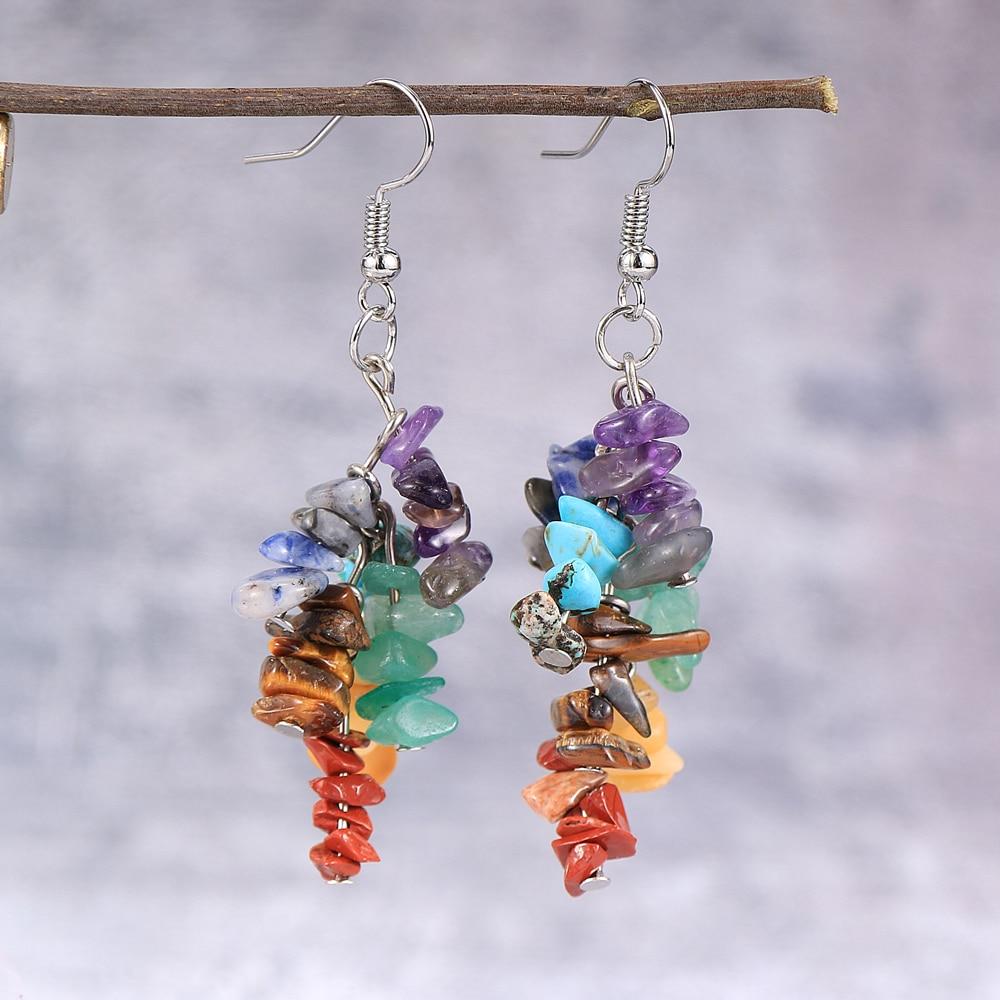 Women Natural Stone 7 Chakras Dangled Earring Asymmetr Chip Gravel Pierced Earrings Hoop Gold Silver Color Hanging Jewelry