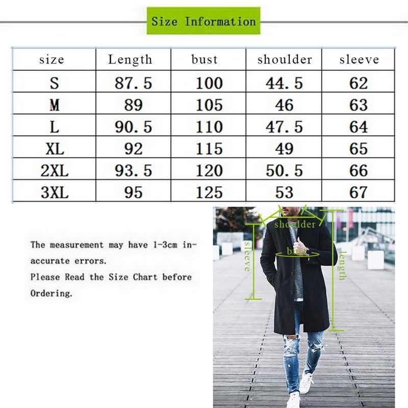 Sfit outono dos homens marca de lã misturas jaqueta masculina casaco casual sólido gola fina casacos longo algodão trench coat streetwear
