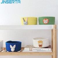 Jinserta algodão caixa de armazenamento cosméticos organizador lanche recipiente com tampa desktop moedas chaves carteira artigos diversos caixa decorativa