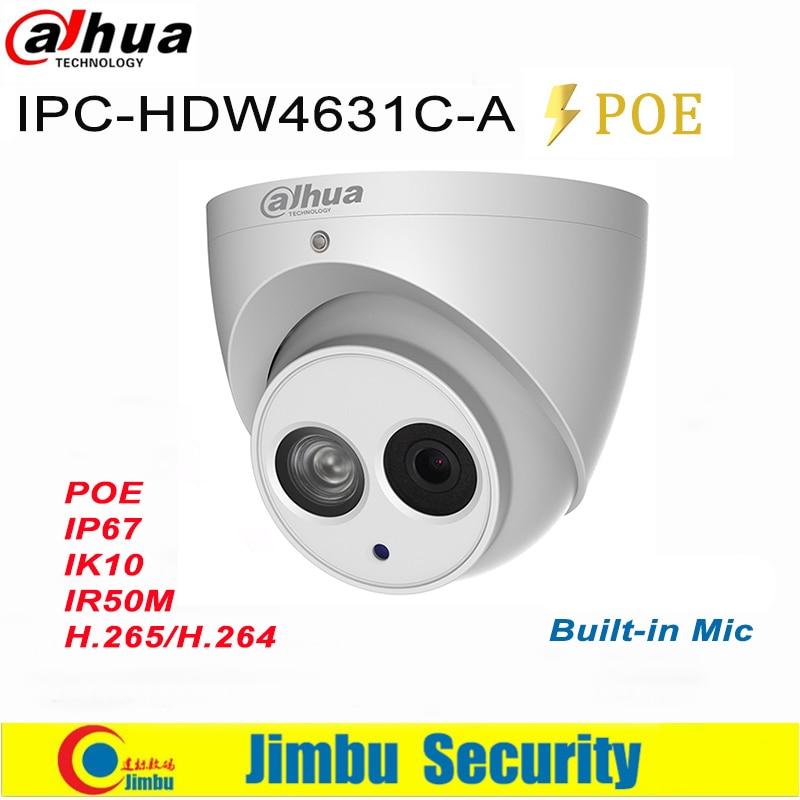 Dahua 6mp câmera ip poe IPC-HDW4631C-A 4mp IPC-HDW4433C-A h.265 suporte built-in mic ir ip67 cctv dome câmera de segurança
