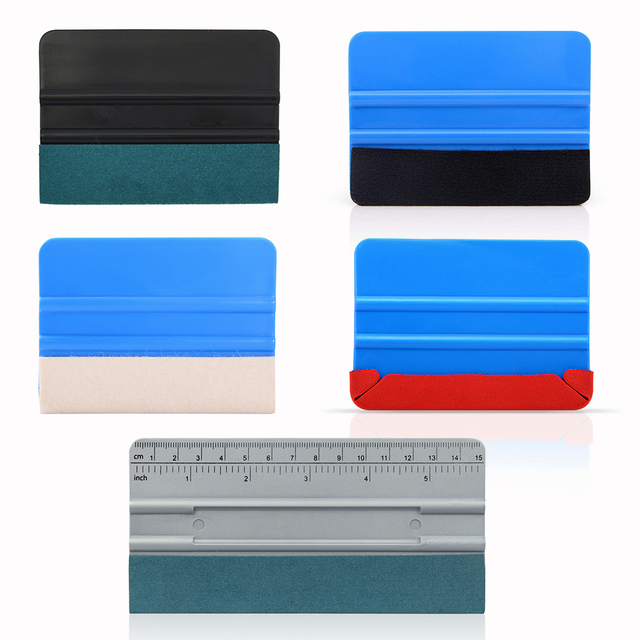 FOSHIO 5Pcs ห่อเครื่องมือไวนิลไม้กวาด No Scratch Scraper สติกเกอร์คาร์บอนไฟเบอร์ติดตั้ง Car Wrap หน้าต่าง Tinting Kit ชุด