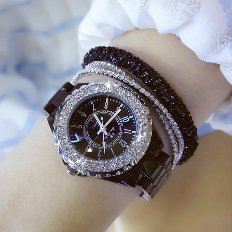 2019 Luxury Crystal Wristwatches Women White Ceramic Ladies Watch Quartz Fashion Women Watches Ladies Wrist watches for Female 4