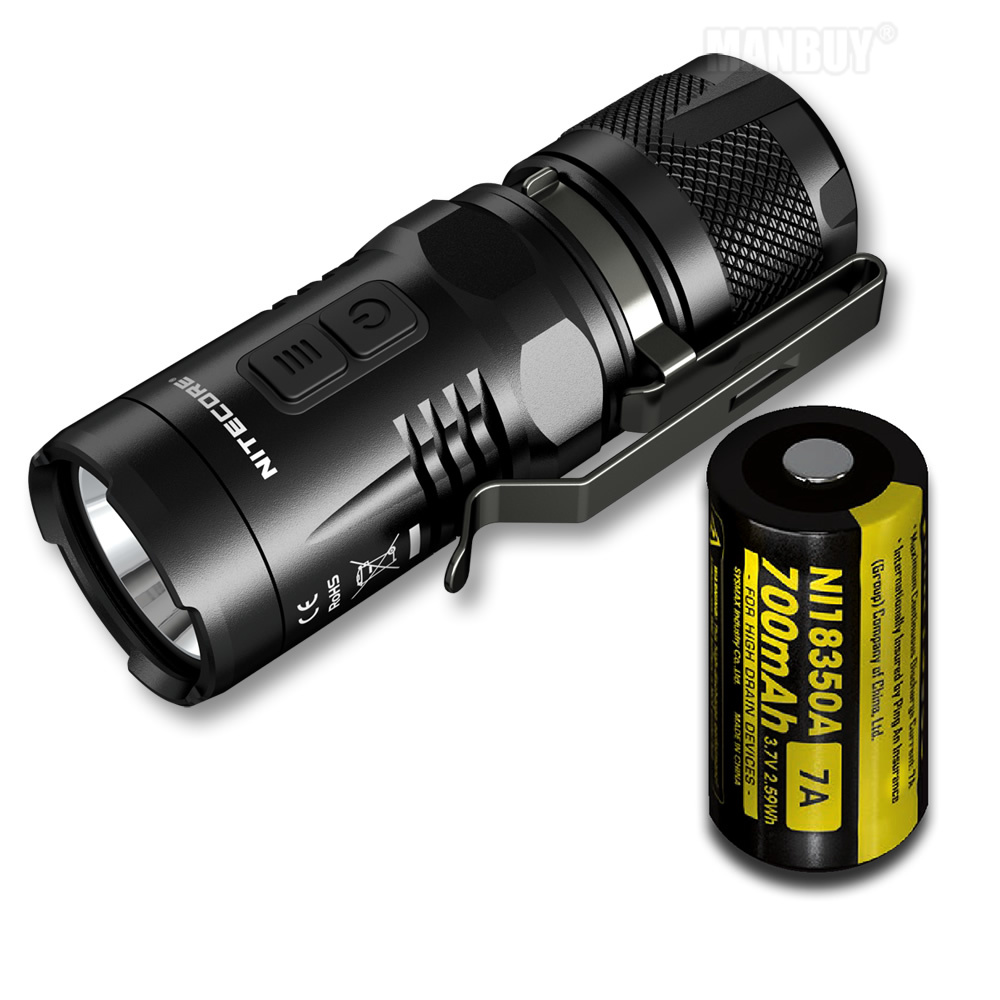 Sale NITECORE EC11 900 Lumens Flashlight With 18350 Rechargeable Battery Waterproof Rescue Outdoor Search Camping Free Shipping