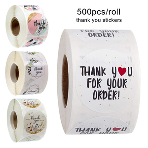 500pcs/roll Thank You Stickers Handmade Sticker Circle Stationery thank you for your order Seal Labels thank you sticker