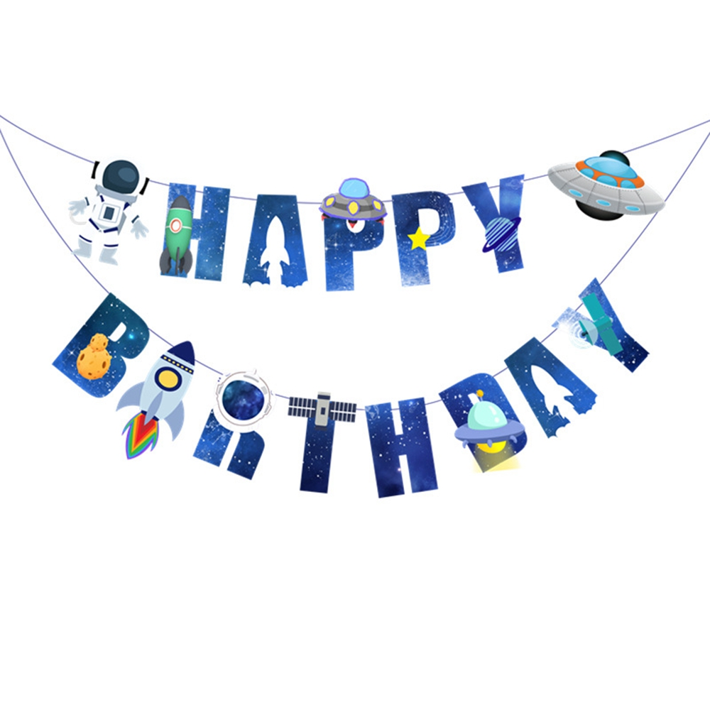 Бумажные флажки, гирлянда, баннеры, флаги, баннер на день рождения, Космический космос, украшение для дня рождения мальчиков и девочек