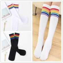 High-Socks Skate Girls Long-Tube Leg-Warm Football-Stripes Knee Sports White Boys Kids