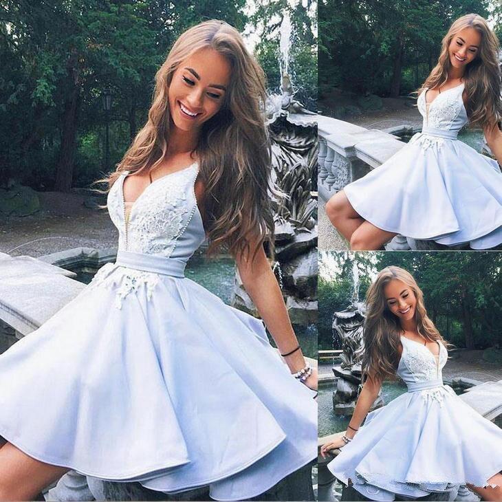 2021 graduation Burgundy Red Light Sky Blue Cute v neck lace short prom dress homecoming dress