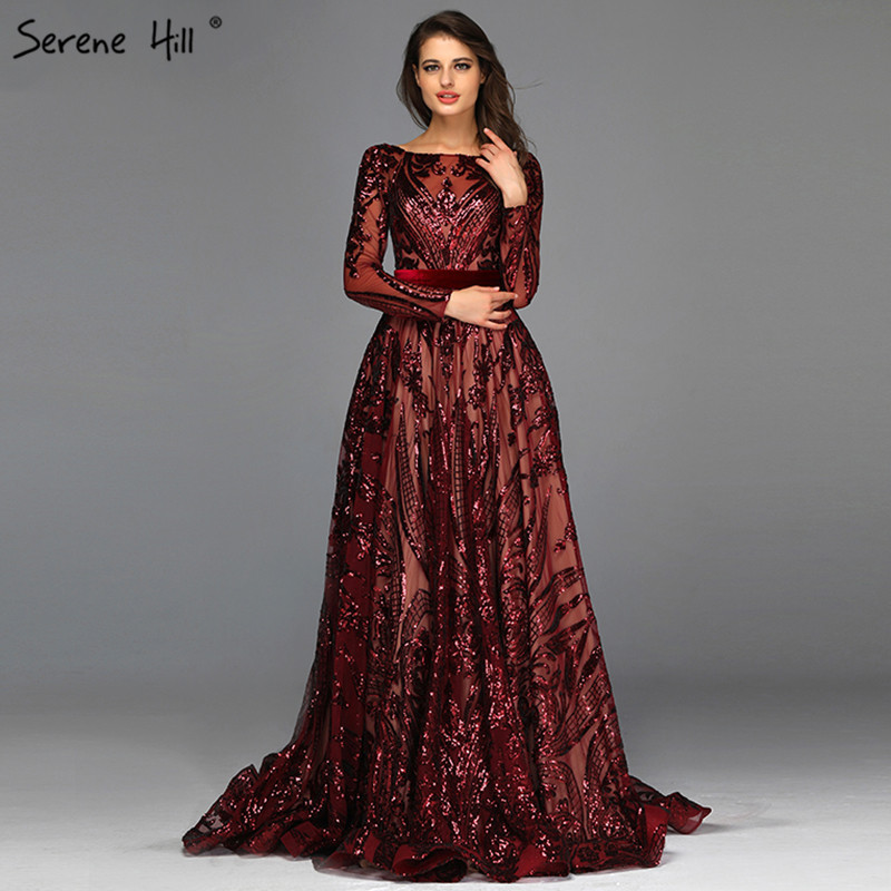 Muslim Wine Red A-Line Luxury   Evening     Dresses   2019 Vintage Long Sleeve Sequined Sparkle   Evening   Gowns Real Photo LA60799