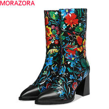 MORAZORA New brand 2020 winter high heels shoes with flowers genuine leather fashion ladies shoes pointed toe ankle boots women(China)