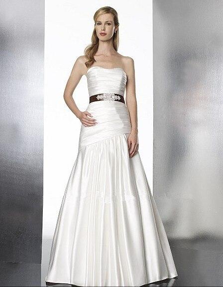 Free Shipping Jenny Packham Dress Satin Flare Features Sweetheart Beaded Ribbon Sash Bridal Dresses 2016 Luxury Wedding Dress