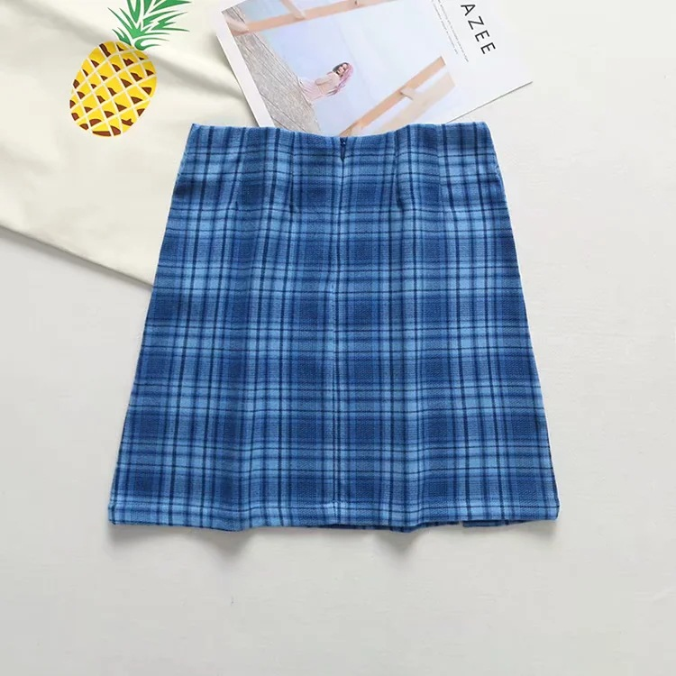 Blue plaid women elegant mini skirts 2020 summer fashion ladies vintage skirt party female split skirt girls chic streetwear