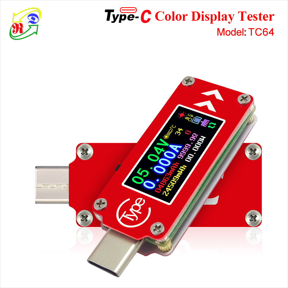 RD TC64  Type C color LCD USB Voltmeter ammeter voltage current meter multimeter battery PD charge power bank USB Tester|Voltage Meters|   - AliExpress