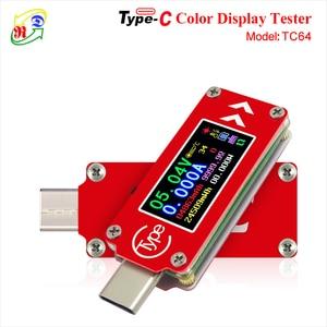 RD TC64 Type-C цветной ЖК-дисплей USB Вольтметр Амперметр измеритель напряжения мультиметр батарея PD Зарядка банк питания USB Тестер