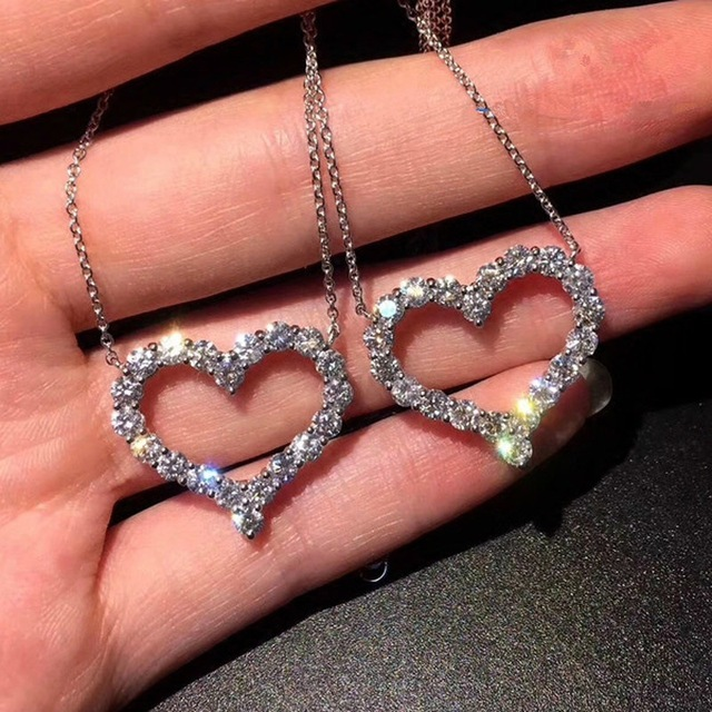 925 Sterling silver colour Jewelry Shiny CZ Zirconia Love Heart Shape Pendant Necklace For Women Gift collares bijoux