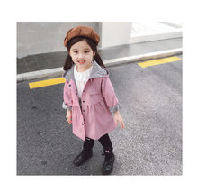 2019 Trench Coat Baby Toddle Girls England Style Spring Autumn Fashion Girls Long Windbreaker Coat Hooded Outerwear Cotton Coat цена 2017
