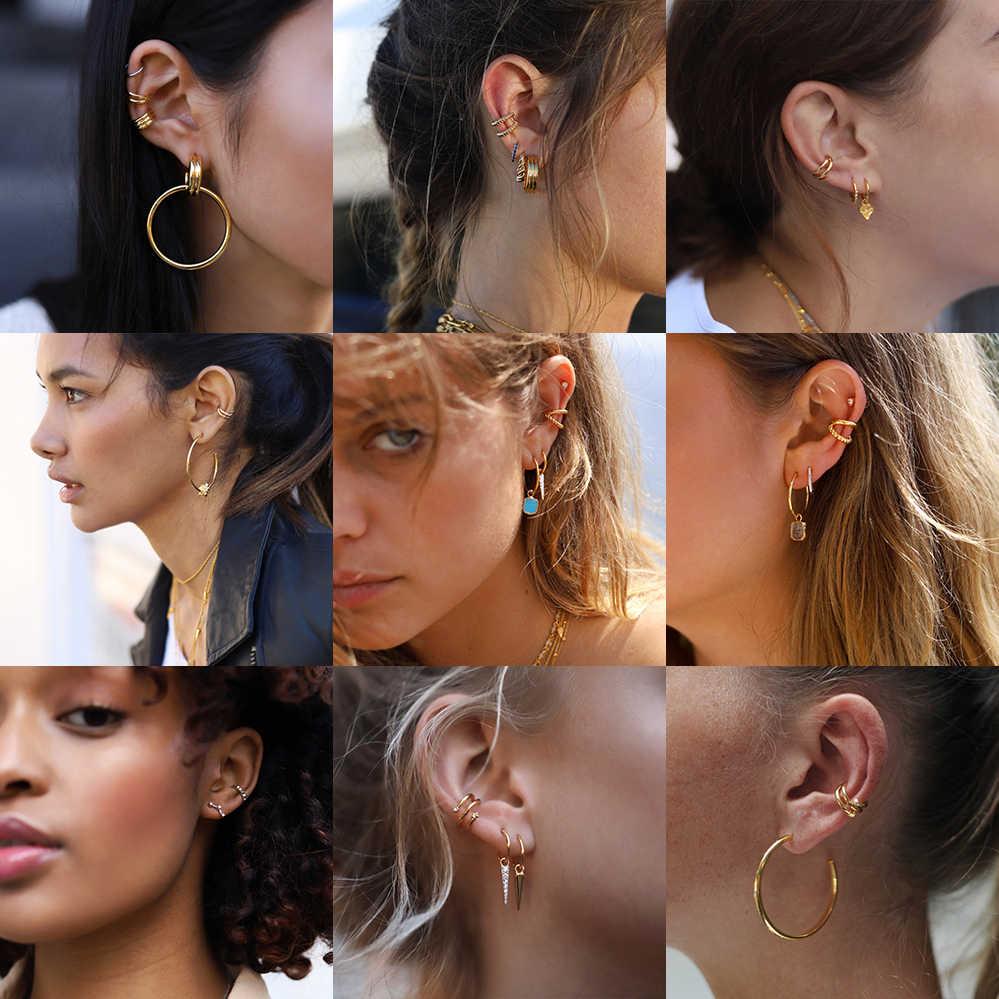 Punk altın Metal kulak manşet kıkırdak kulak klipsi kadınlar için hiçbir deldi C şekli geometrik küçük Earcuff kulak sarma Earcuff klipleri takı