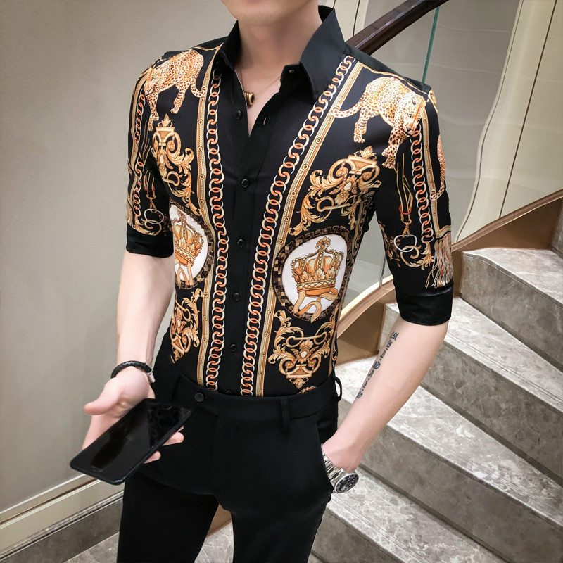 Brand Luxury Print Men Shirt Streetwear Social Short Sleeve Slim Fit Dress Shirts Camisa Masculina Nightclub Party Tuxedo Blusa