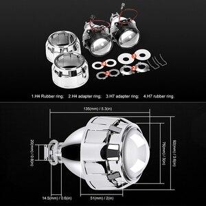 Image 4 - ミニ2.5インチバイキセノンプロジェクターレンズマスクシルバーシュラウドのためフィットH4 h7ソケット車のヘッドライトヘッドランプ使用H1キセノンled電球