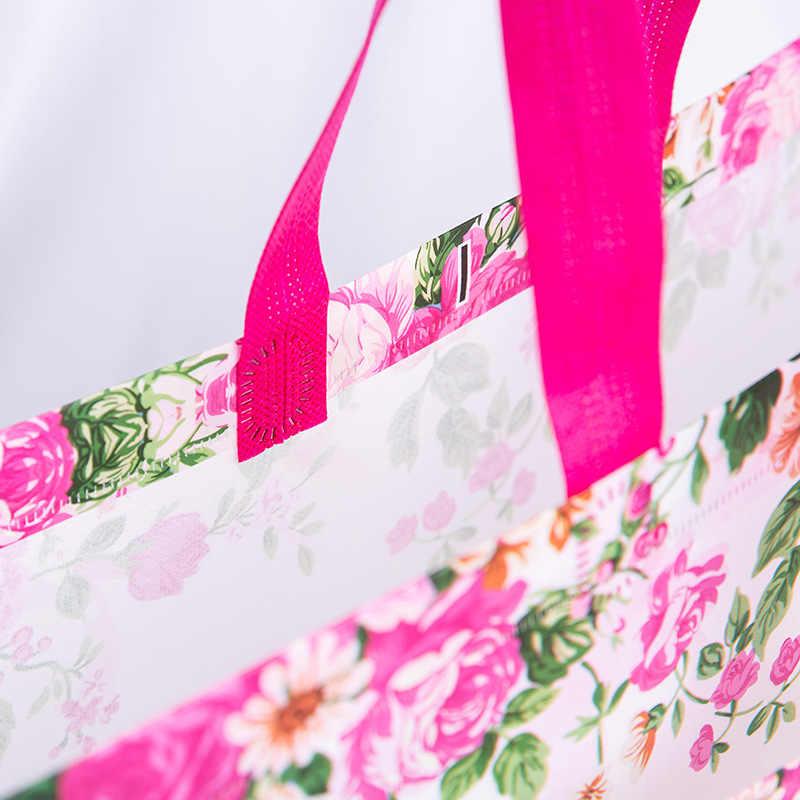 Nieuwe Idyllische Bloem Herbruikbare Boodschappentas Opvouwbaar Eco Draagtas Niet-geweven Stof Shopper Tassen Vrouwen Reizen Boodschappentassen Shopper tassen