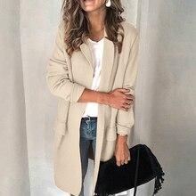 JODIMITTY Solid Loose Office Coat Mujer 2019 New Autumn Winter Women Jackets Office Ladies Women Suit Jackets Long Coats