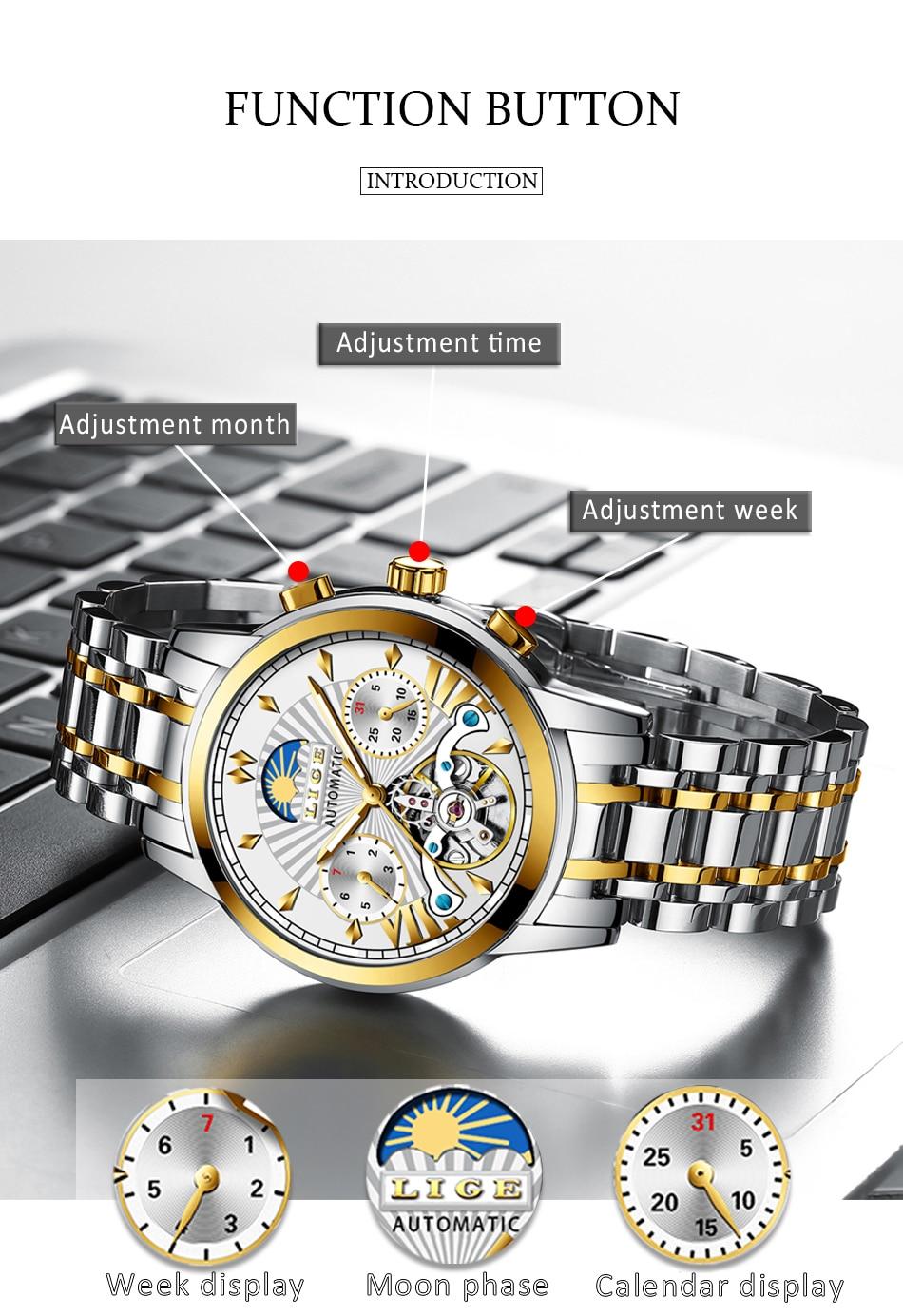 Hdad5bfdaa8784c91abd91e0ba80c14345 LIGE Official Store Mens Watches Top Brand Luxury Automatic Mechanical Business Clock Gold Watch Men Reloj Mecanico de Hombres