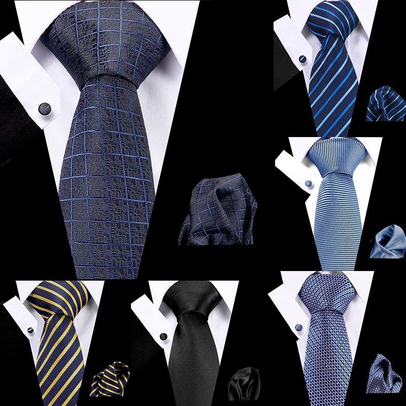 Fashion 7.5 Cm 100% Silk Mens Stripe Plaid Tie Handkerchief Cuffink Set Business Flomal Dress Accessories Wedding Gift For Mens