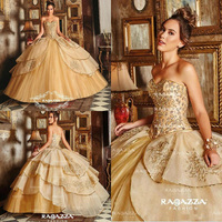 Gold Sweetheart Ball Gown Quinceanera Dresses Beads Crystal Tiered Skirts Sweet 16 Dress Girls Masquerade Gowns Lace Up