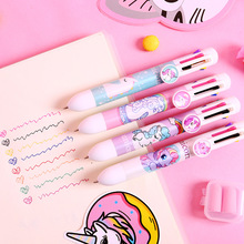 Korean version of the cute creative ballpoint pen small fresh cartoon multi-function hand account 8 color press colorful