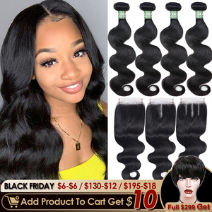 Aircabin Brazilian Body Wave Bundles With Closure 30 Inch Remy Human Hair Extensions Double Weft Medium Brown Swiss Lace