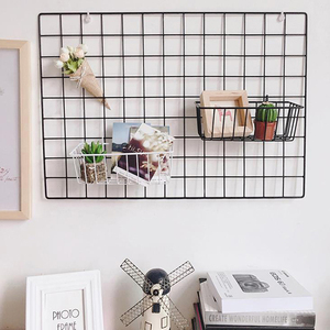 Modern Home Wall Decoration Iron Grid Nordic Art Photo Displaying Frame Party Metal Shelf Mesh Postcards DIY Racks