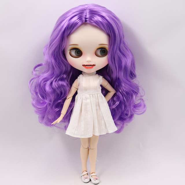 Blyth nude doll Carved lips Open mouth Matte customized face Purple hair 1/6 Joint body ICY bjd DIY toy girl gift