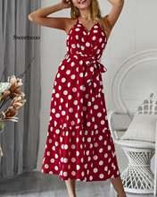 Женское пляжное платье в горошек с v образным вырезом без рукавов